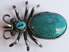 BEST LARGE VINTAGE NAVAJO INDIAN SILVER TURQUOISE SPIDER PIN OR PENDANT