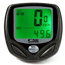 "SD-546C Wireless LCD Backlight ""Green"" Bicycle  Computer Odometer Speedometer"