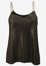 NEW LADIES, GORGEOUS,  GLITTER FABRIC WITH CHAIN STRAPS CAMI/ TOP SIZE 16
