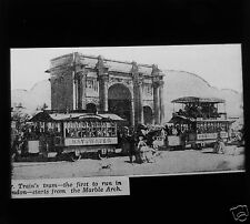 Glass Magic Lantern Slide TRAINS TRAM C1900 RAILWAY LONDON