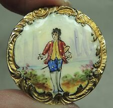 PAINTED FIGURAL ENAMEL PICTURE BUTTON ~ NUT TREE BOY ROCOCO BORDER 1800's PARIS