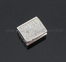 Zircon Gemstones Pave Flat Rectangle 9x11mm Bracelet Connector Charm Beads