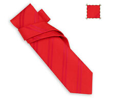 "Cool Brand New Hermes ""Summer Tie Bolduc"" Solid Fire Red Silk/Cotton Tie Mint!"