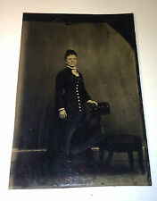 Antique Tintype Photo of Scary Looking Woman w/ Ruffles! Crazy Eyes! Rosy Cheeks