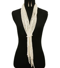 Versatile Long Big Cream Pearl Bead Multi Strand Fringe Gold Chain Necklace Set