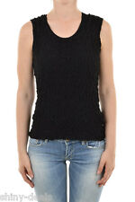 CAULIFLOWER ISSEY MIYAKE New Woman Black Crinkle Creased Top Blouse One Size NWT