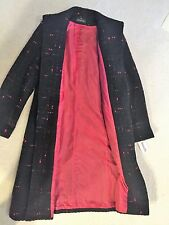 Women's J. Richards Long Wool Black w Red Tweed Coat Size 10 New With Tags!