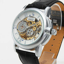 Luxury Men Skeleton Automatic Mechanical Leather Sport Army Military Wrist Watch