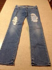 """Women's Size 30"""" 7 For All Mankind Jeans Straight Leg Distressed Blue Denim"""