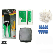 Network Ethernet LAN Cable Tester Kit RJ45 Cat5e Cat6 Crimper Crimping Tool Set~