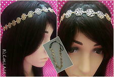SMALL DAISY CHAIN FLOWER GOLD HEAD BAND/HAIR HEAD PIECE FOR HIJAB SCARF