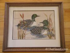 "Needlepoint Birds Loons Ducks Professionally Framed Matted 16.5"" x 20"""