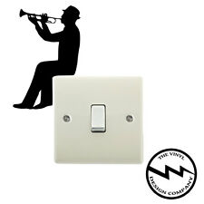 Man Playing Trumpet Light Switch Vinyl Decal Sticker Child Room Lightswitch Wall