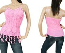 """NEW! KAELYN-MAX Sexy PINK Bohemian CLUBWEAR Top  w/ Fringe ~ M / Bust to 34"""""""