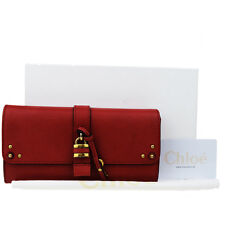 Authentic CHLOE Paddington Long Bifold Wallet Purse Leather Red Bulgaria 01G855