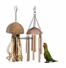 2 PACK  COCONUT CHIME & JELLYFISH NATURAL PARROT PREENING CAGE TOY LB 644/643