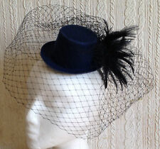 black veiling feather navy mini top hat fascinator millinery burlesque wedding