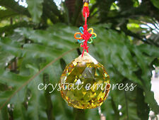 FENG SHUI - 5CM FACETED EARTH ELEMENT YELLOW HANGING CRYSTAL BALL TASSEL