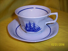 1 WEDGWOOD China AMERICAN CLIPPER Blue CUP & SAUCER England GAME COCK 1850