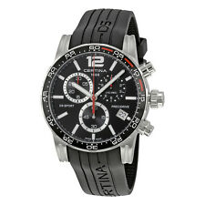Certina DS Sport Chronograph Black Dial Black Rubber Mens Watch