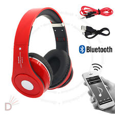 New Foldable Wireless Bluetooth 4.2 Headset Stereo Red Headphone Handsfree  UKDC