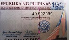 PHILIPPINES NOTE 100 PESO 2 DIGIT NUMBER 2010 AMERICAN FLAG/PHILIPPINE FLAG UNC