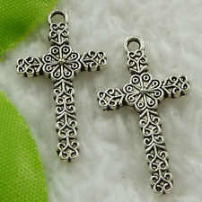 Free Ship 280 pieces tibet silver cross charms 27x15mm #1618