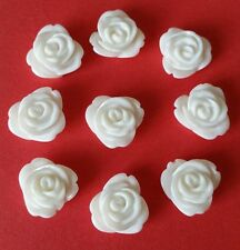 40 WHITE ROSE FLOWERS 13mm WHITE RESIN ROSE EMBELLISHMENTS / Flatbacked Resin