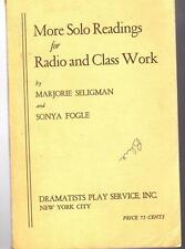 More Solo Readings for Radio and Class Work Book 1944 H770