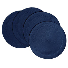 "Creative Dining Group Braided Edge Round Placemats (Set of 4), 15"", Navy"