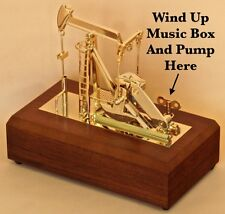 Gold Oil Well Pump Jack Music Box Model Drillbit Keychain oilfield gift sticker