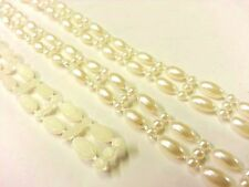 AT3- 3m x 10mm Wide Ivory Vintage Pearl Beaded Lace Bridal Wedding Trim Ribbon