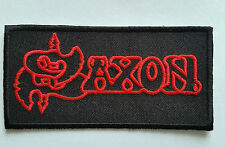 PUNK ROCK HEAVY METAL MUSIC SEW ON / IRON ON PATCH:- SAXON (a) RED BLOCK