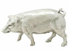 Sterling Silver Pig Sugar Box by B Muller & Son - Antique Edwardian - 1902
