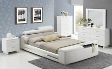 Elegant White Upholstered Storage Bed 5pc Queen Size Layla Bedroom Furniture Set