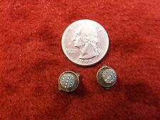 RARE PAIR OF TINY VTG ANTIQUE STERLING SILVER COLLAR STUDS OR BUTTONS & ENAMEL