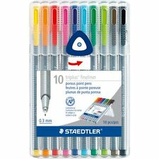 10 - STAEDTLER Triplus Fineliner Pourous Point Pens - 0.3mm - Assorted Ink - New
