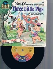Disneyland Records Story of the Three Little Pigs 45 RPM Record 1978