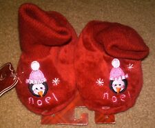 NWT TODDLER RED CHRISTMAS SLIPPERS CUFFED FAUX FUR PENGUINS XS 1-2