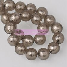 10mm 14mm 10pcs Round Charm Silver Foil Inside Lampwork Glass Loose Spacer Beads
