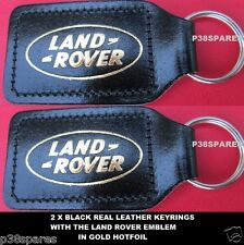 LAND ROVER DEFENDER 90 110 127 130 SERIES I II .BLACK REAL LEATHER KEY RINGS X2