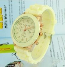 GENEVA BRAND CHRONOGRAPH STYLE SILICON STRAP LADIES WATCH  -  CREAM COLOUR
