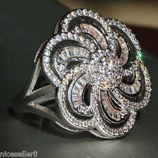 NO.541 White Sapphire Birthstone 925 Silver Filled Wedding Bridal Ring Size 8