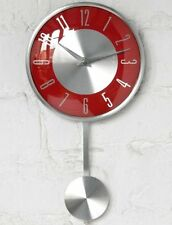 Pendulum Wall Clock Numerical Digits Red/Silver Face Kitchen Office Home Decor