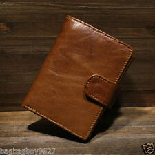 Men's Real Cowhide Leather Trifold Wallet Card Holders Brown Coin Pocket Purse