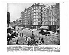 MARKET STREET SAN FRANCISCO / HUDSON RIVER WEST POINT USA 1897 PRINT