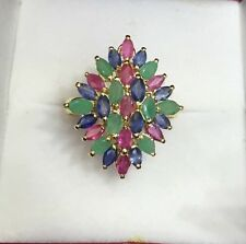 14k Solid Yellow Gold Cluster Ring Natural Mixed Ruby Sapphire & Emerald 4.12GM