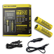 Nitecore Digi Charger D2 w/2x NL1835 3500mAh 18650 Batteries +Car & Wall Adaptor