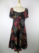 Kay Unger Floral Silk Fit Flare Flowy Dress Short Sleeve Cocktail Sz 10