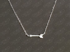 925 Sterling Silver Arrow Necklace Archery Bow Cupid Sideways Horizontal Pendant